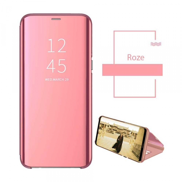 Husa Samsung Galaxy A90 2019 Clear View Flip Standing Cover Oglinda Roz 2