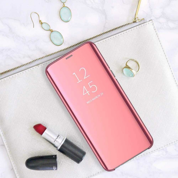 Husa Samsung Galaxy A90 2019 Clear View Flip Standing Cover Oglinda Roz 5