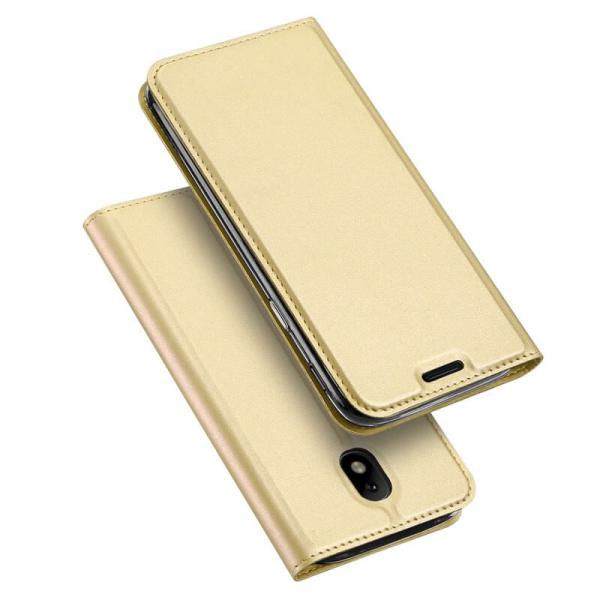 Husa Samsung Galaxy J3 2017 Toc Flip Tip Carte Portofel Auriu Gold Piele Eco Premium DuxDucis [4]