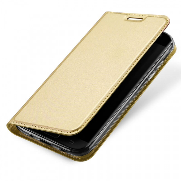 Husa Samsung Galaxy J3 2017 Toc Flip Tip Carte Portofel Auriu Gold Piele Eco Premium DuxDucis [3]