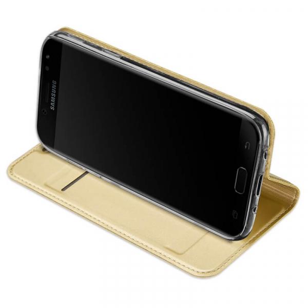 Husa Samsung Galaxy J3 2017 Toc Flip Tip Carte Portofel Auriu Gold Piele Eco Premium DuxDucis [2]