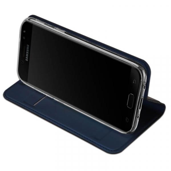 Husa Samsung Galaxy J3 2017 Toc Flip Tip Carte Portofel Bleumarin Piele Eco Premium DuxDucis 2