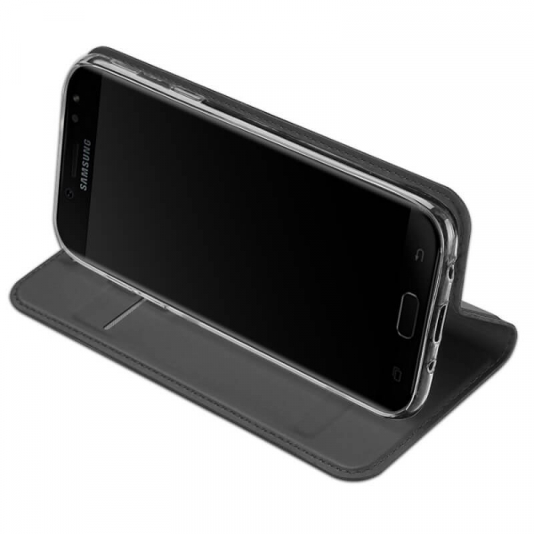 Husa Samsung Galaxy J3 2017 Toc Flip Tip Carte Portofel Negru Piele Eco Premium DuxDucis [2]