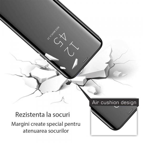 Husa Samsung Galaxy J4 Plus 2018 Clear View Flip Toc Carte Standing Cover Oglinda Negru 2