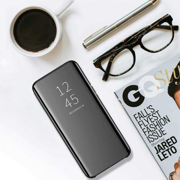 Husa Samsung Galaxy J4 Plus 2018 Clear View Flip Toc Carte Standing Cover Oglinda Negru 4