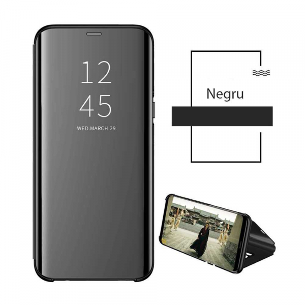 Husa Samsung Galaxy J4 Plus 2018 Clear View Flip Toc Carte Standing Cover Oglinda Negru 1