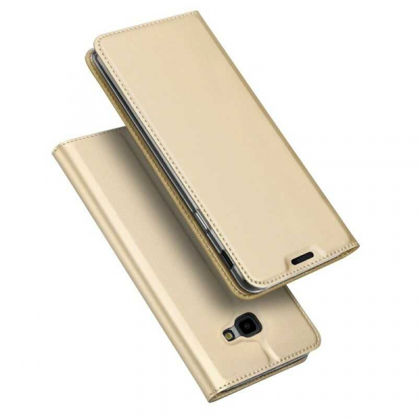 Husa Samsung Galaxy J4 Plus 2018 Toc Flip Portofel Auriu Gold Piele Eco DuxDucis 4