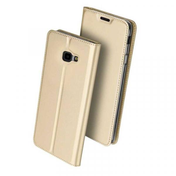 Husa Samsung Galaxy J4 Plus 2018 Toc Flip Portofel Auriu Gold Piele Eco DuxDucis 0