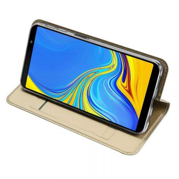 Husa Samsung Galaxy J4 Plus 2018 Toc Flip Portofel Auriu Gold Piele Eco DuxDucis 2