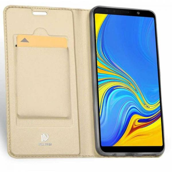 Husa Samsung Galaxy J4 Plus 2018 Toc Flip Portofel Auriu Gold Piele Eco DuxDucis 1