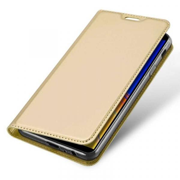 Husa Samsung Galaxy J4 Plus 2018 Toc Flip Portofel Auriu Gold Piele Eco DuxDucis 3