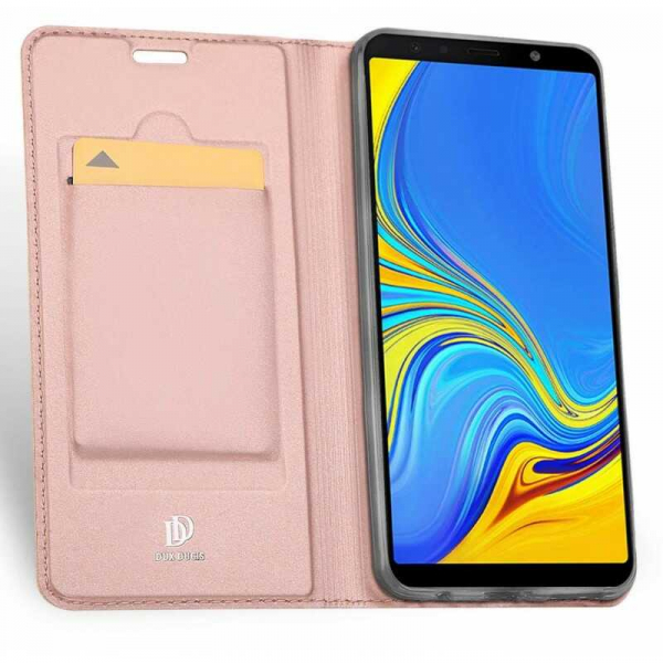 Husa Samsung Galaxy J4 Plus 2018 Toc Flip Portofel Roz Piele Eco DuxDucis [1]