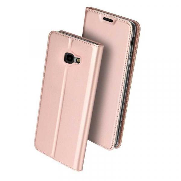 Husa Samsung Galaxy J4 Plus 2018 Toc Flip Portofel Roz Piele Eco DuxDucis [0]