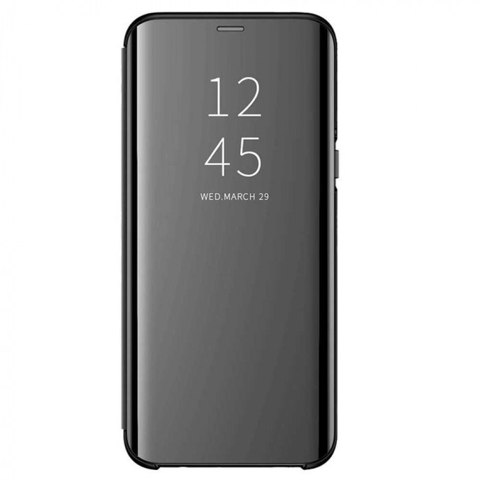 Husa Samsung Galaxy J4 Plus Flip Oglinda Negru Tip Carte Clear View 0