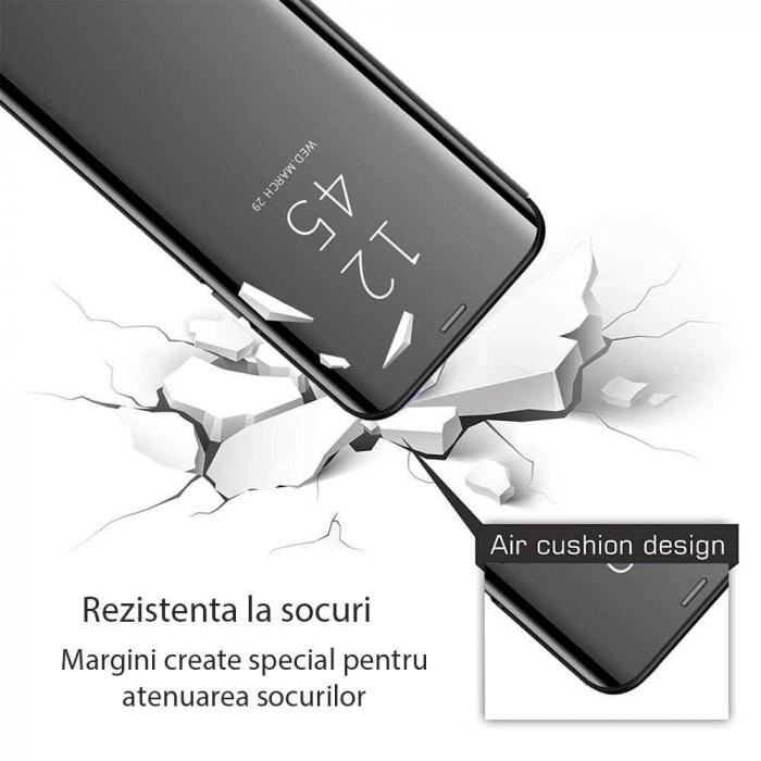 Husa Samsung Galaxy J4 Plus Flip Oglinda Negru Tip Carte Clear View 2