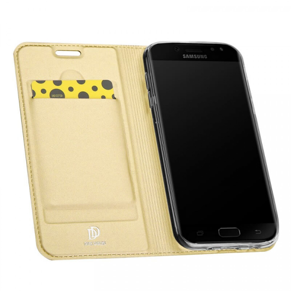 Husa Samsung Galaxy J5 2017 Toc Flip Tip Carte Portofel Auriu Gold Piele Eco Premium DuxDucis [1]