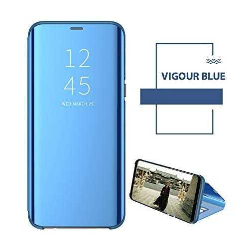 Husa Samsung Galaxy J6 2018 Clear View Flip Toc Carte Standing Cover Oglinda Albastru 1