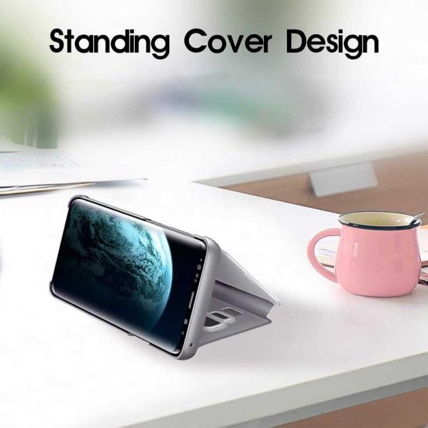 Husa Samsung Galaxy J6 2018 Clear View Flip Toc Carte Standing Cover Oglinda Argintiu Silver 3