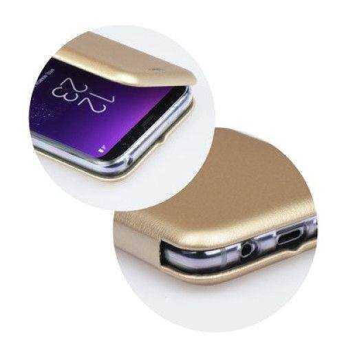 Husa Samsung Galaxy J6 2018 Gold Auriu Tip Carte / Toc Flip din Piele Ecologica Portofel cu Inchidere Magnetica 1