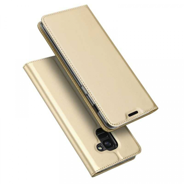 Husa Samsung Galaxy J6 2018 Toc Flip Tip Carte Portofel Auriu Gold Piele Eco Premium DuxDucis 4