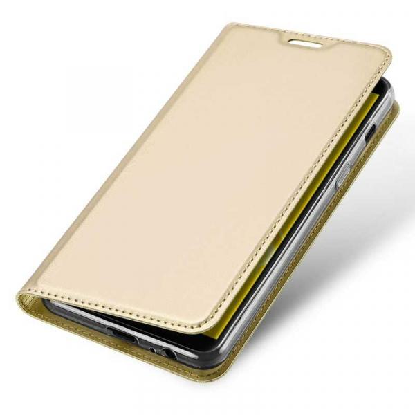 Husa Samsung Galaxy J6 2018 Toc Flip Tip Carte Portofel Auriu Gold Piele Eco Premium DuxDucis 3