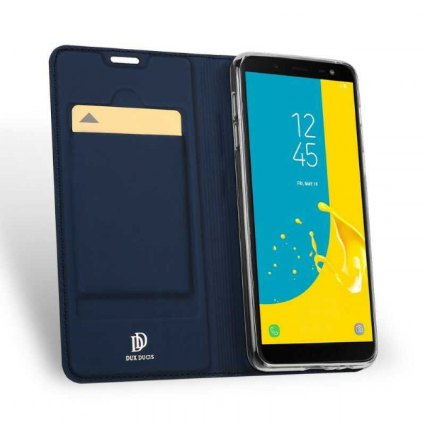 Husa Samsung Galaxy J6 2018 Toc Flip Tip Carte Portofel Bleumarin Piele Eco Premium DuxDucis 1