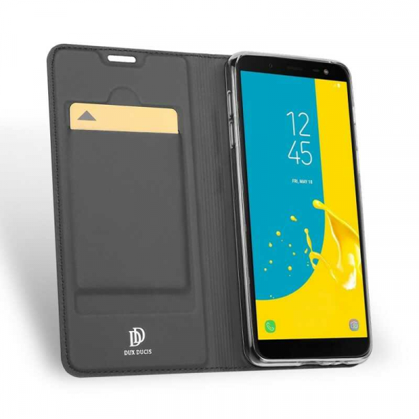 Husa Samsung Galaxy J6 2018 Toc Flip Tip Carte Portofel Negru Piele Eco Premium DuxDucis [1]