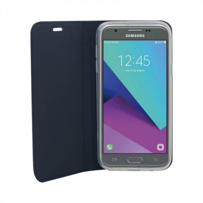 Husa Flip Samsung Galaxy J6 Plus 2018 Tip Carte Albastru Focus 2