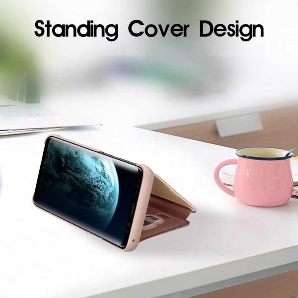 Husa Samsung Galaxy J6 Plus 2018 Clear View Flip Toc Carte Standing Cover Oglinda Roz Rose Gold 3