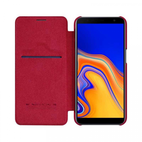 Husa Samsung Galaxy J6 Plus 2018 Rosu Toc Flip Nillkin Qin Piele Eco Premium Tip Carte Portofel 2