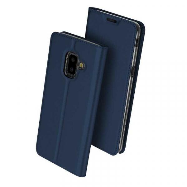 Husa Samsung Galaxy J6 Plus 2018 Toc Flip Tip Carte Portofel Bleumarin Piele Eco Premium DuxDucis 0