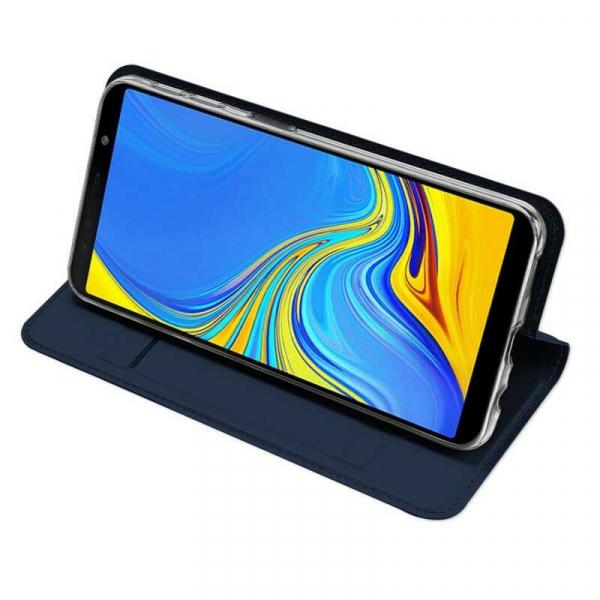 Husa Samsung Galaxy J6 Plus 2018 Toc Flip Tip Carte Portofel Bleumarin Piele Eco Premium DuxDucis 2