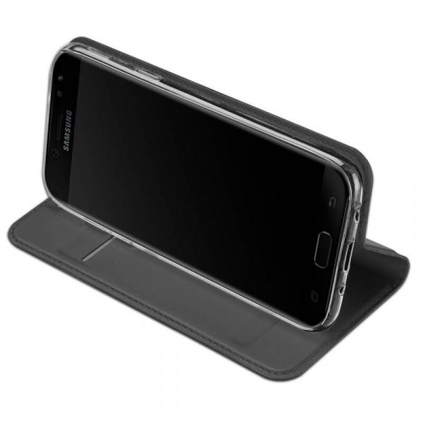 Husa Samsung Galaxy J7 2017 Toc Flip Tip Carte Portofel Negru Piele Eco Premium DuxDucis 2