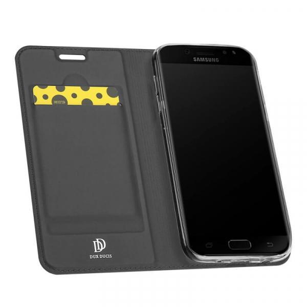 Husa Samsung Galaxy J7 2017 Toc Flip Tip Carte Portofel Negru Piele Eco Premium DuxDucis 1