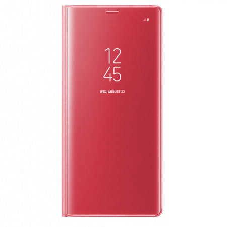 Husa Samsung Galaxy J7 2018 Clear View Flip Standing Cover (Oglinda) Roz (Rose Gold) 0