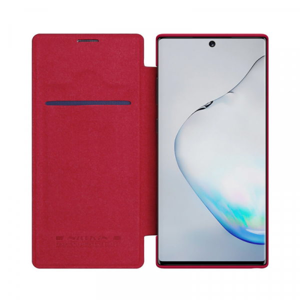 Husa Samsung Galaxy Note 10 2019 Rosu Toc Flip Nillkin Qin Piele Eco Premium Tip Carte Portofel 2
