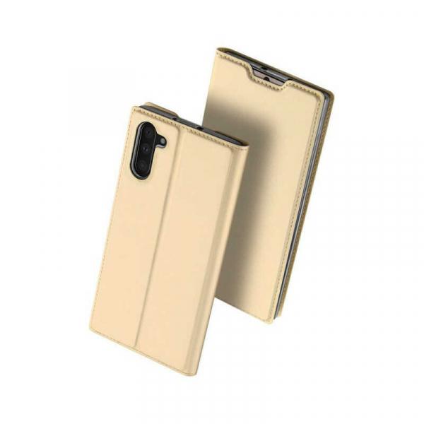Husa Samsung Galaxy Note 10 2019 Toc Flip Portofel Auriu Gold Piele Eco DuxDucis 0
