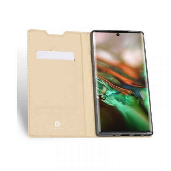 Husa Samsung Galaxy Note 10 2019 Toc Flip Portofel Auriu Gold Piele Eco DuxDucis 1