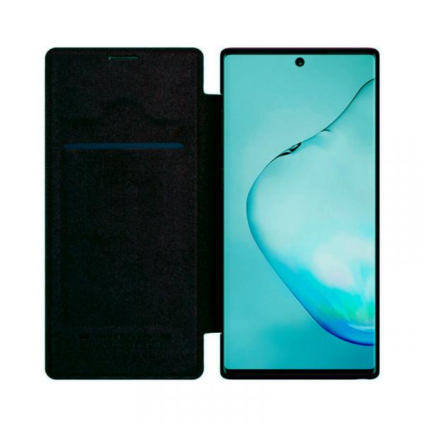 Husa Samsung Galaxy Note 10 Plus 2019 Negru Toc Flip Nillkin Qin Piele Eco Premium Tip Carte Portofel 2