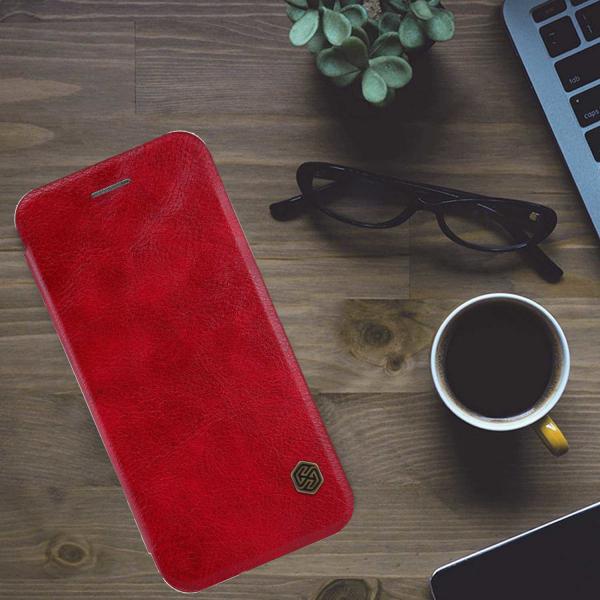 Husa Samsung Galaxy Note 10 Plus 2019 Rosu Toc Flip Nillkin Qin Piele Eco Premium Tip Carte Portofel 4