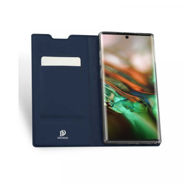 Husa Samsung Galaxy Note 10 Plus 2019 Toc Flip Portofel Bleumarin Piele Eco DuxDucis [1]