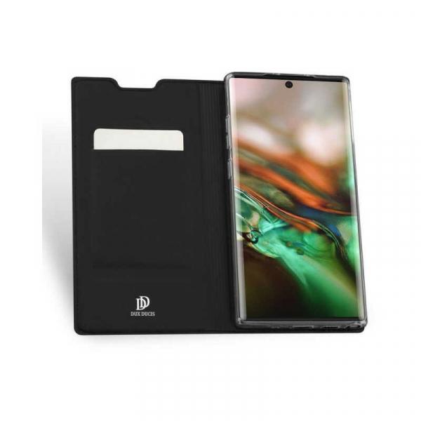 Husa Samsung Galaxy Note 10 Plus 2019 Toc Flip Portofel Negru Piele Eco DuxDucis [1]