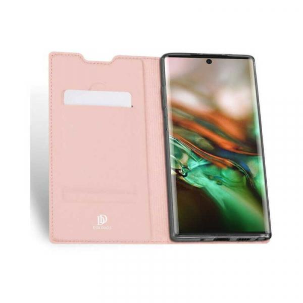 Husa Samsung Galaxy Note 10 Plus 2019 Toc Flip Portofel Roz Piele Eco DuxDucis 1