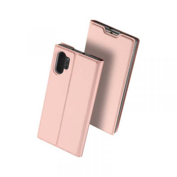 Husa Samsung Galaxy Note 10 Plus 2019 Toc Flip Portofel Roz Piele Eco DuxDucis 0