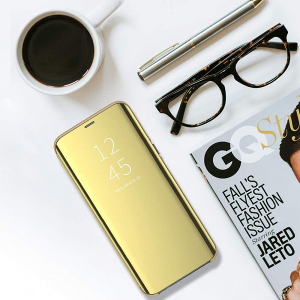 Husa Samsung Galaxy Note 9 Clear View Flip Standing Cover (Oglinda) Auriu (Gold) 3