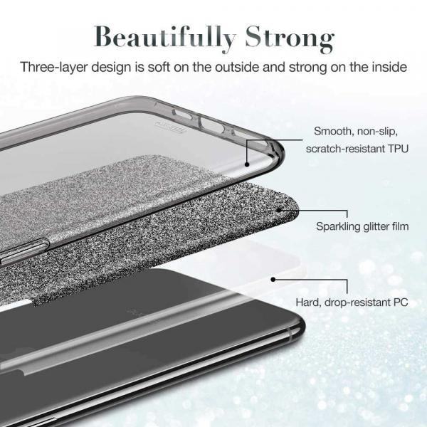 Husa Samsung Galaxy S10 2019 Color Silicon TPU Carcasa Sclipici Argintiu [2]