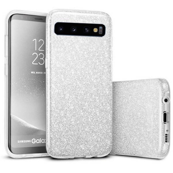 Husa Samsung Galaxy S10 2019 Color Silicon TPU Carcasa Sclipici Argintiu [0]