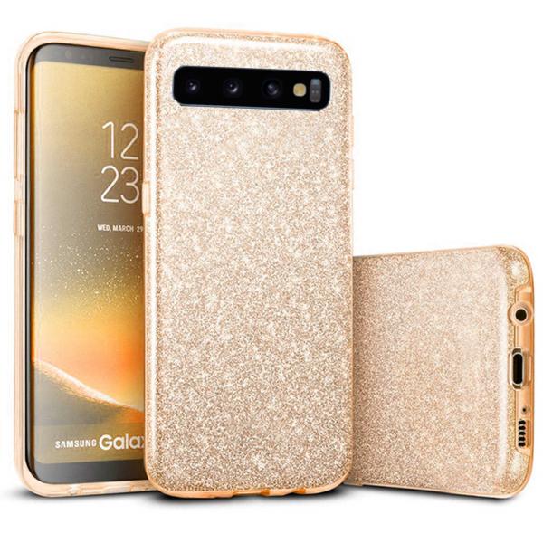 Husa Samsung Galaxy S10 2019 Color Silicon TPU Carcasa Sclipici Auriu Gold 0