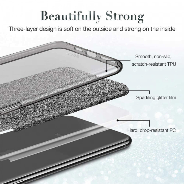 Husa Samsung Galaxy S10 2019 Color Silicon TPU Carcasa Sclipici Negru 1