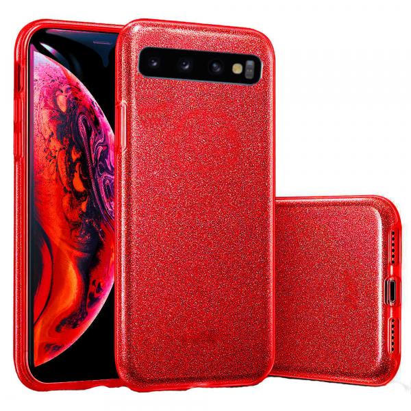 Husa Samsung Galaxy S10 2019 Color Silicon TPU Carcasa Sclipici Rosu 0